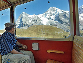 A view of the Eiger and Mönch peaks from the cog railway that climbs to the Jungfraujoch