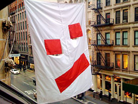 Look familiar? Peter Regli's flag outside the Swiss Institute of Contemporary Art in New York (swissinfo.ch)