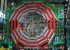 The elements of the CMS detector are built in a hall on the surface