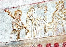 A 15th century church fresco in Ascona depicting a piva player
