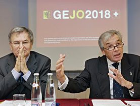 Jean-Pierre Jobin (right) and Jean-Loup Chappelet, members of the Geneva exploratory bid committee