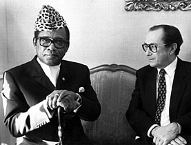 Foreign minister Aubert met Mobutu (left) in Bern in 1983
