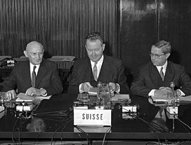 Foreign Minister Wahlen and Economics Minister Schaffner, left and centre, at a meeting with the European Community, helped shape Swiss international relations