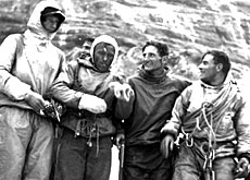 The team which conquered the Eiger North Face in 1938, led by Anderl Heckmair (second on the right)