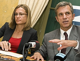 Federal Health Office director Thomas Zeltner and Virginie Masserey, head of vaccinations, talk about Swiss preparations on Tuesday