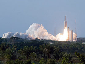 An Esa achievement - a rocket blasting off from Guiana Space Centre in French Guiana
