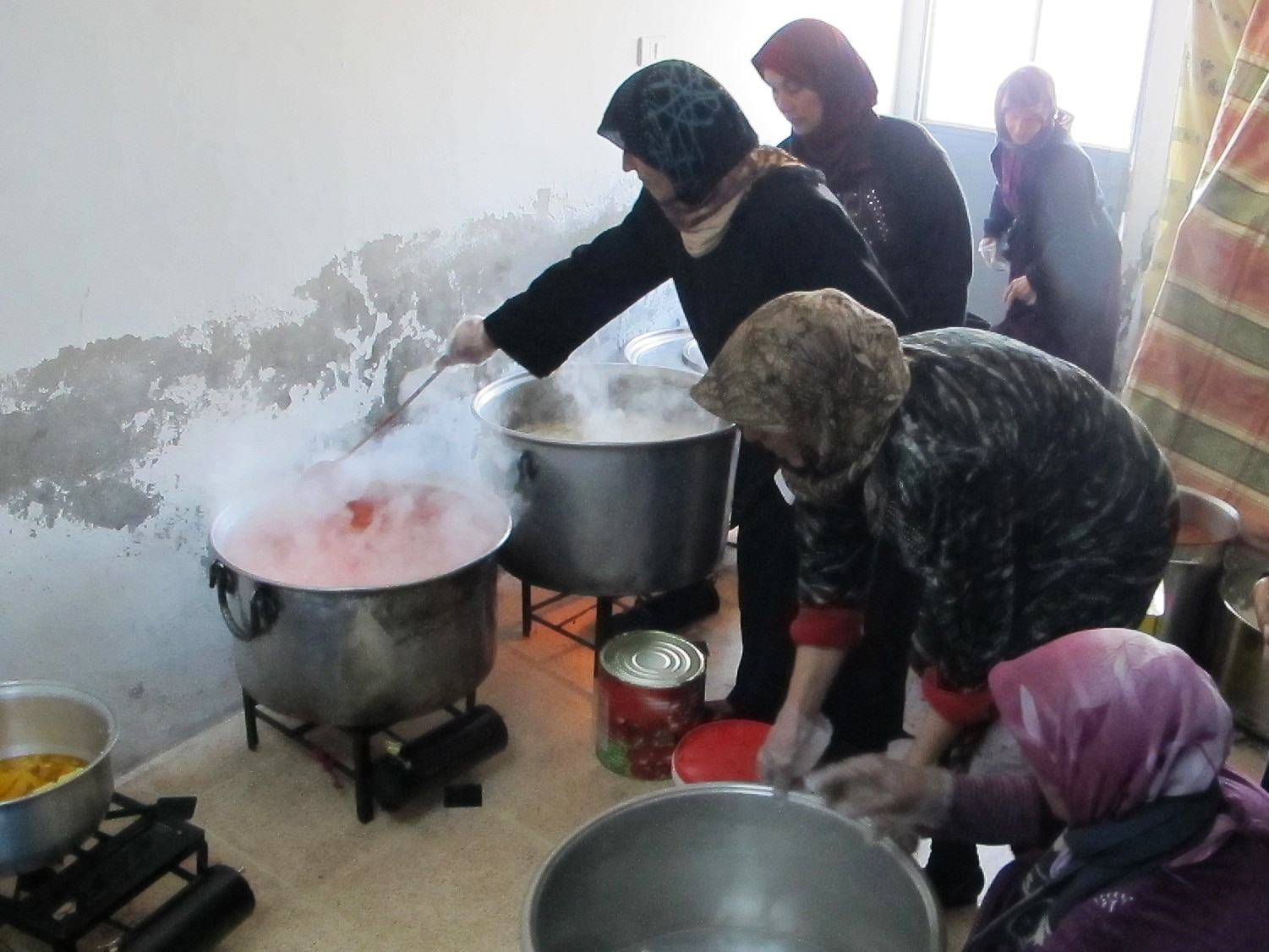 Today (December 17, 2013) we are transporting food for 1200 families in northern Syria, in collaboration with one women's organisation from the Syrian side and a Turkish organisation from the Turkish side. Today we have rice, potatoes and meat. About forty women in Syria will cook it and then it will be delivered to four different camps.""
