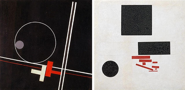Left: Composition, 1922, by László Moholy-Nagy (1895 - 1946). Right: Suprematist composition, 1915, by Kazimir Malevich (1878 - 1936).
