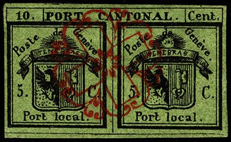 green double stamp with fine black and red design