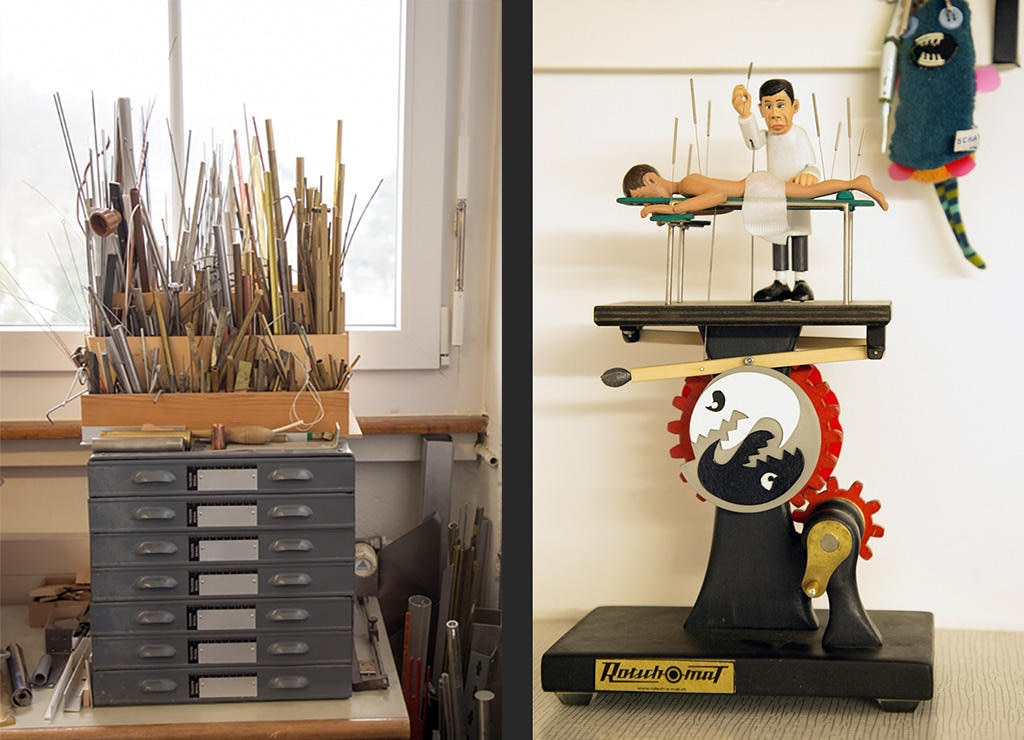 work material of rods and metal drawers (left) model acupuncturist (right)