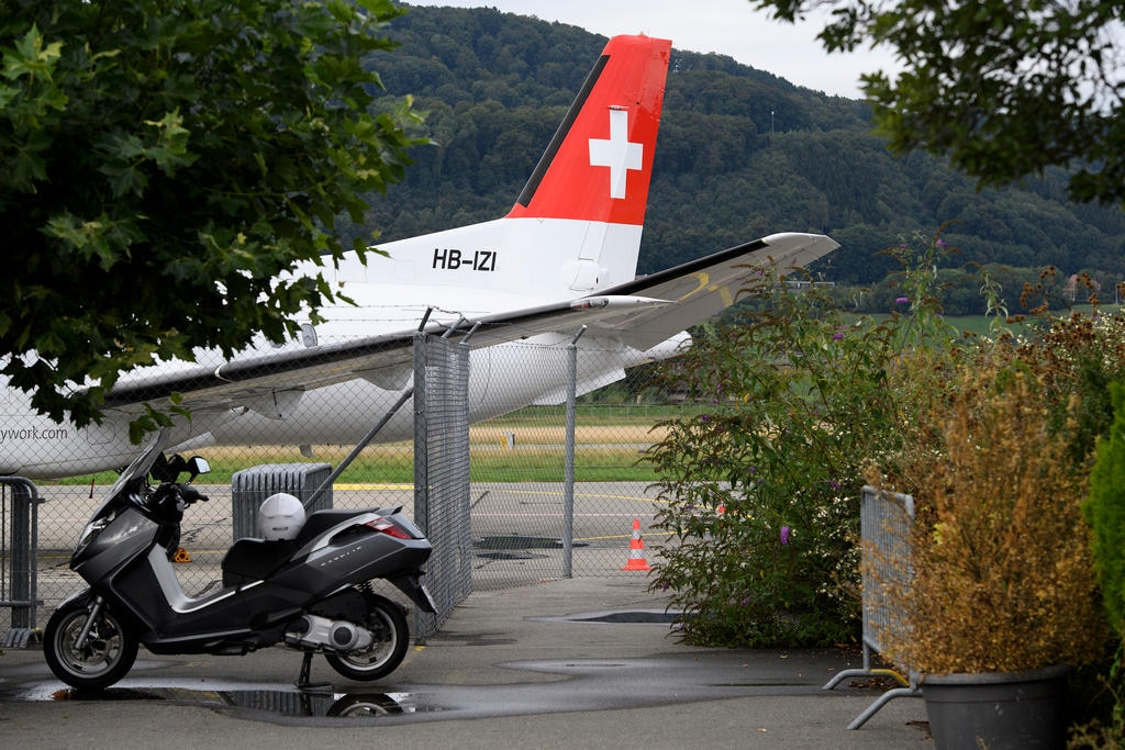 A grounded SkyWork aircraft is seen at the Bern-Belp Airport on Thursday, August 30, 2018, Switzerland