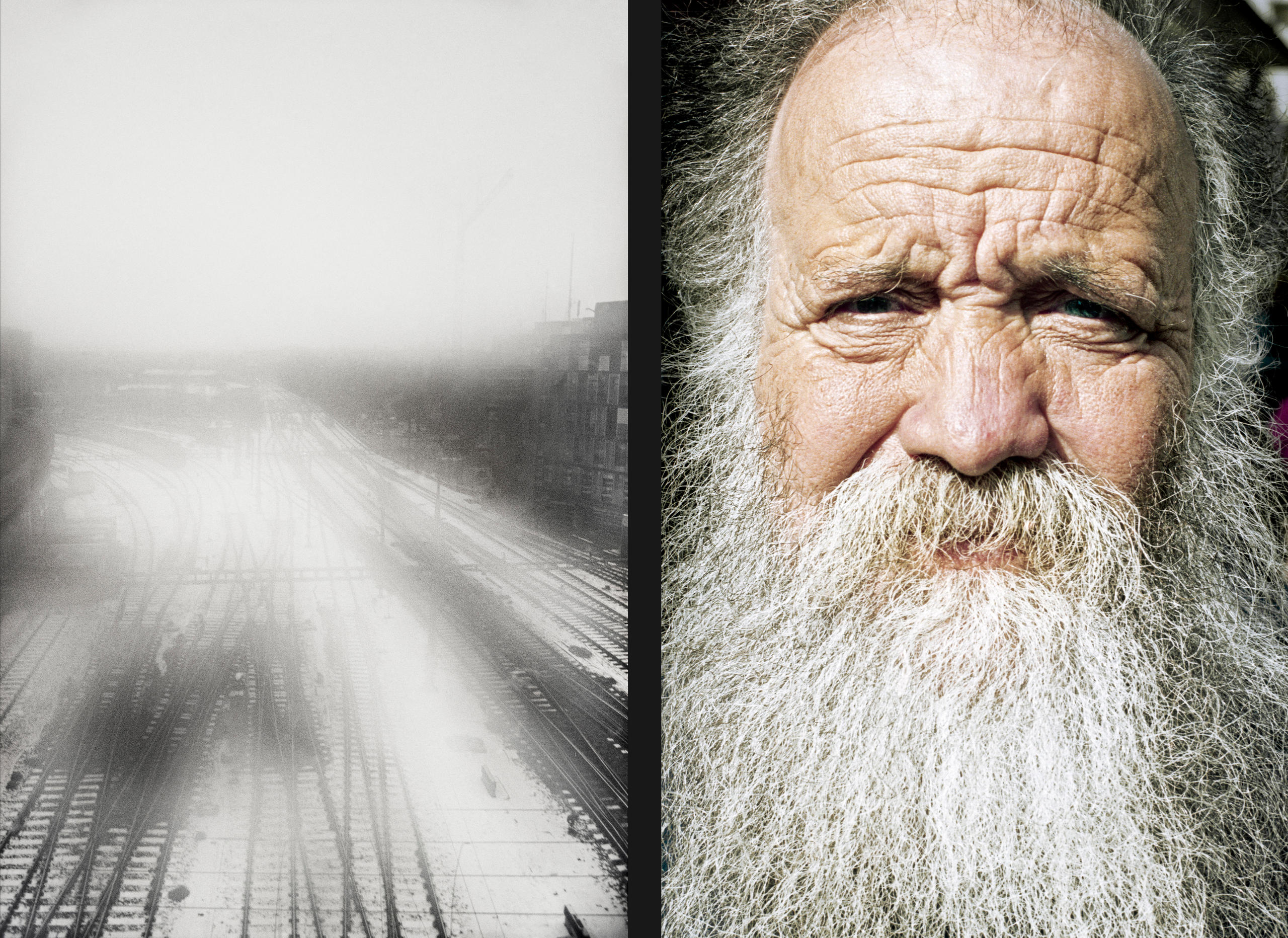Rail tracks in winter / portrait of an elderly man