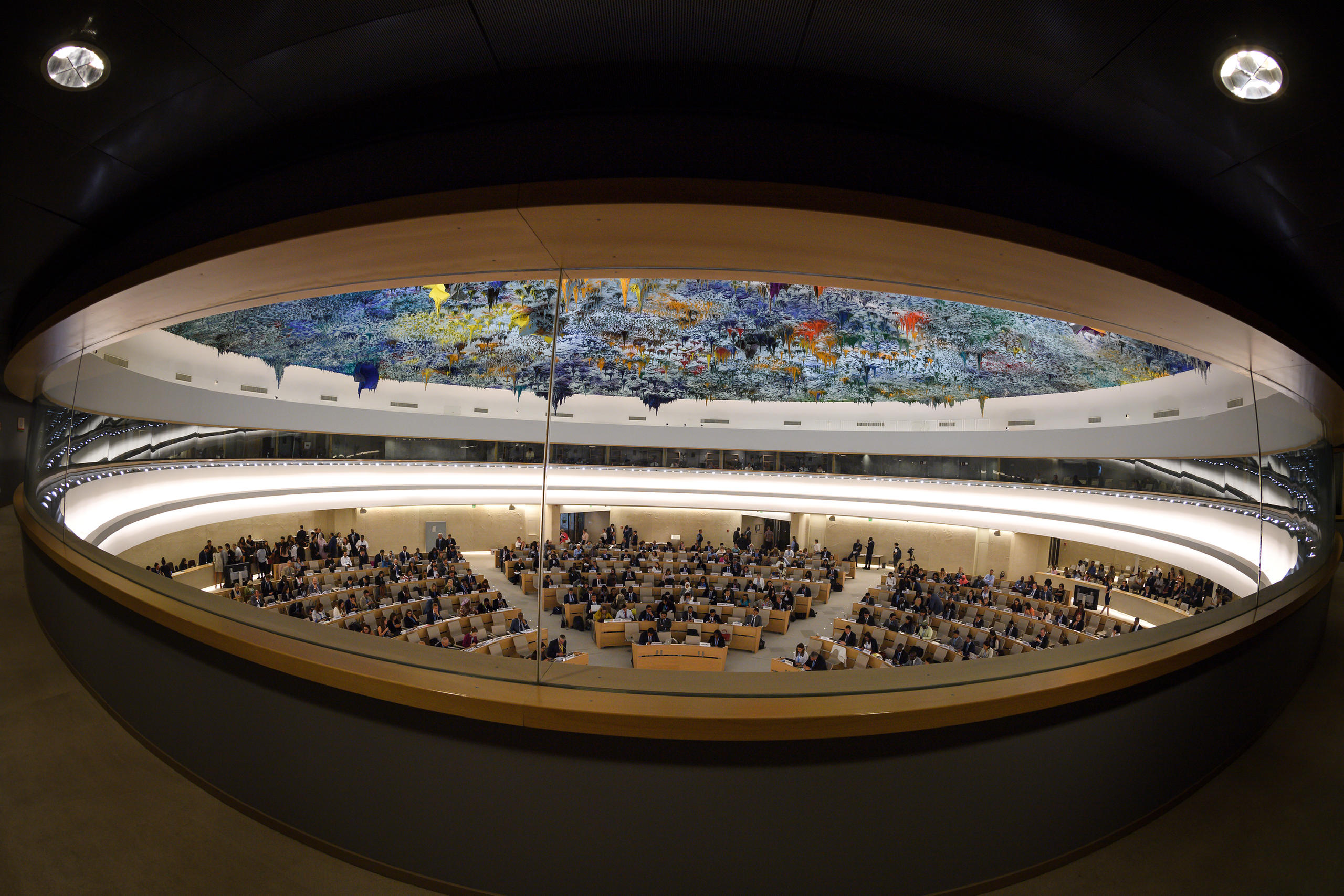 view at the opening day of the 39th UN Council of Human Rights at the UN Offices in Geneva.
