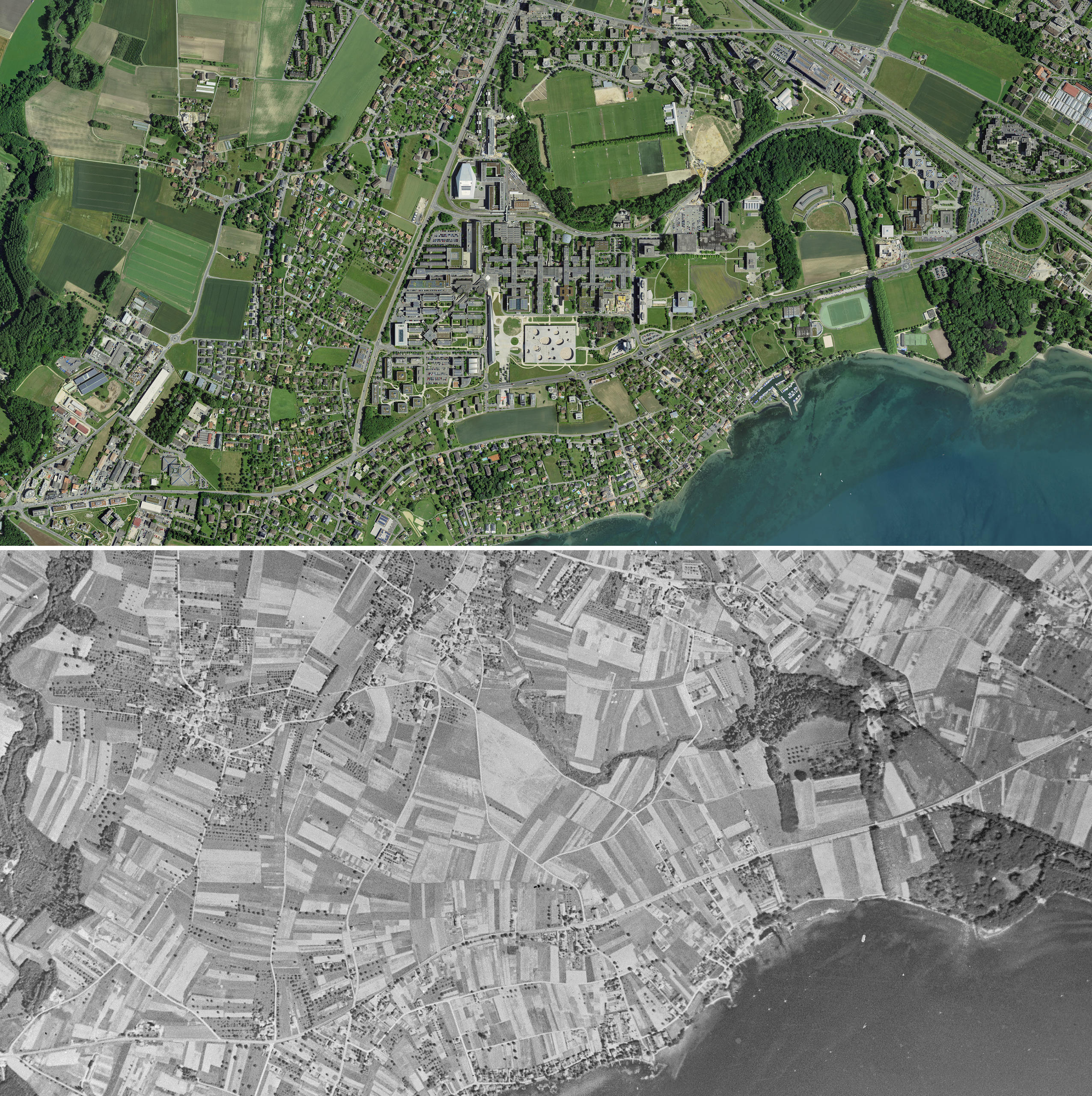 Aerial view of Ecublens above in 2017 and below in 1946