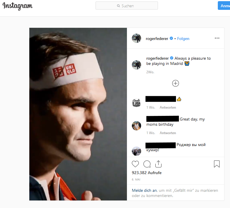 Screenshot Roger Federer