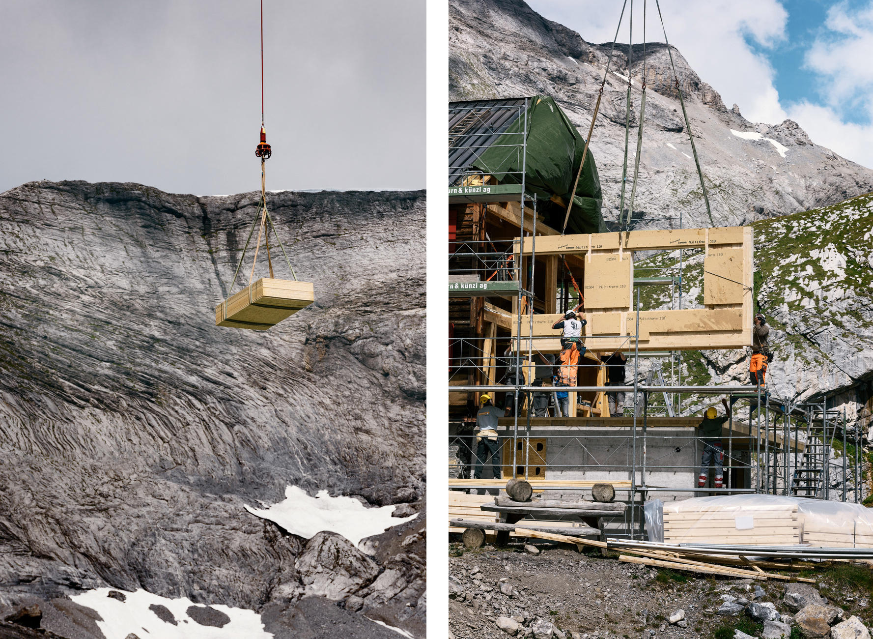 New materials are brought by helicopter for renovatations of the Laemmeren hut.