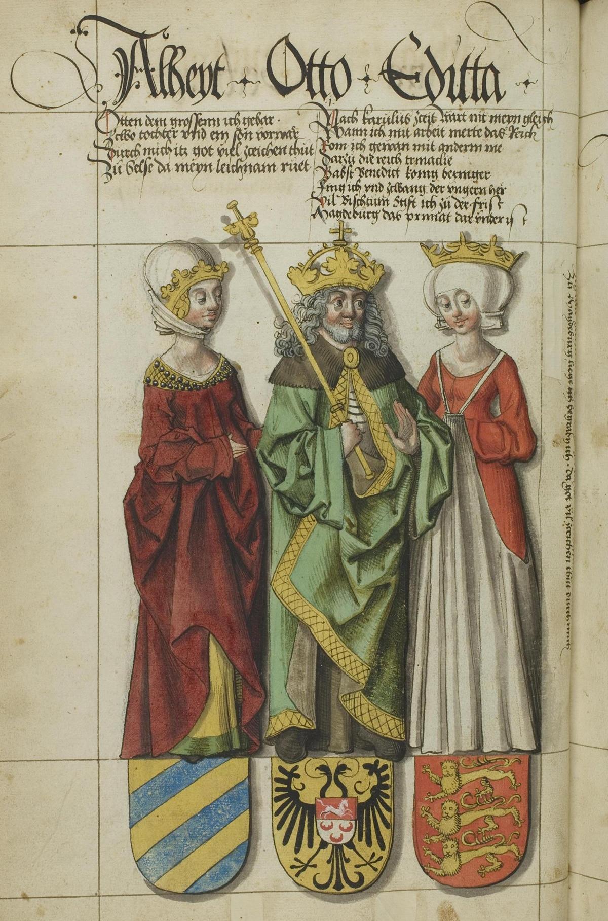 Un roi et une reine représentés sur un vieux parchemin.