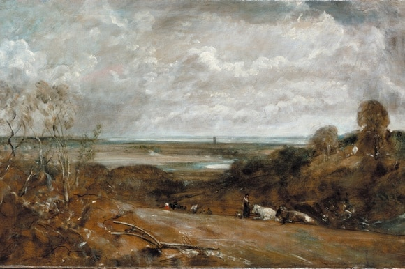 A painting depicting a rural scene in England