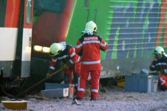 Firefighters at the train accident