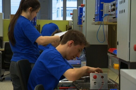 Apprentices in the ABB company approving their skills