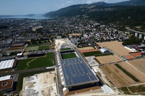 Solar power plant on the roof of the stadium in Biel
