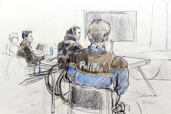An artists sketch of accused, police and lawyers in a court room