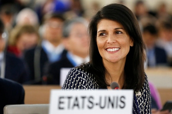 United States permanent Representative to the United Nations Ambassador Nikki Haley smiles before delivering a speech in Geneva.