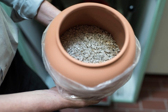An urn filled with ashes