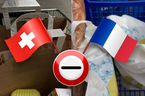 flag of Switzerland and France over an image of shopping cart from the two countries