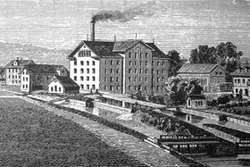 Old print showing a cotton spinning mill outside Zurich