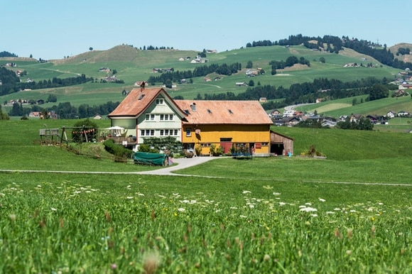 A farmhouse above Appenzell, canton of Appenzell Innerrhoden, Switzerland, pictured on August 5, 2013.