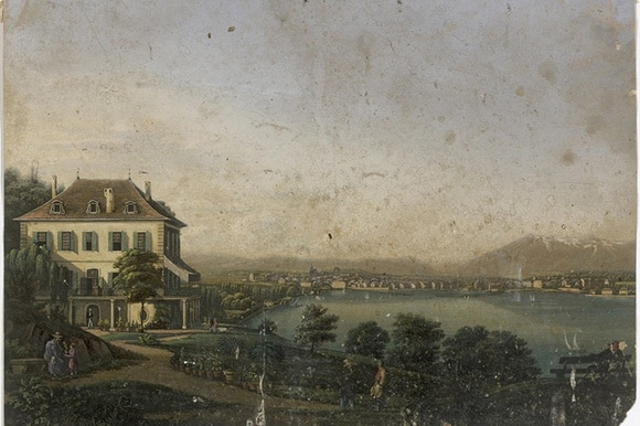 A colour image from a painting of the house on the lake