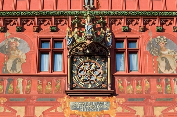 Close-up of Basel town hall building