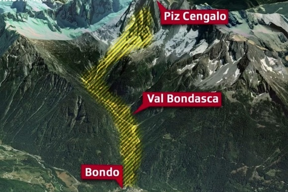 map of mountain range where mudslide happened, Graubünden