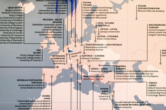 Map of Erasmus offers from University of Zurich office