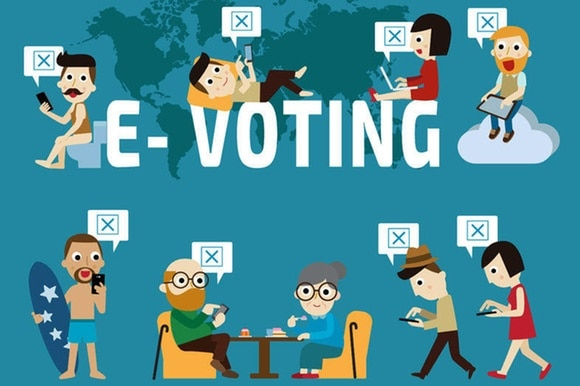 Poster for e-voting with different figures using electronic devices