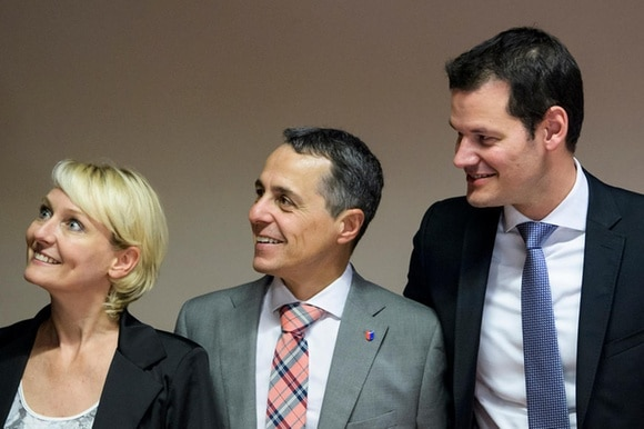 Cabinet candidates Isabelle Moret, Ignazio Cassis and Pierre Maudet