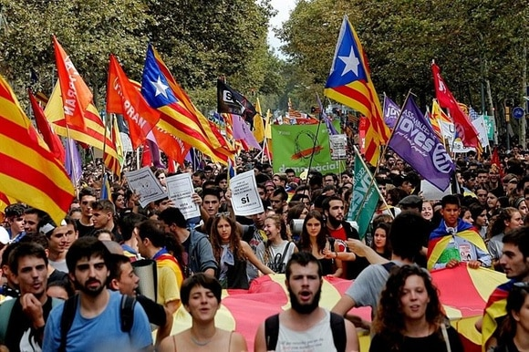 Thousands of students take part at a demonstration in Spain