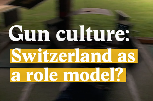 A cover image for a Nouvo video about gun culture in Switzerland and the US.