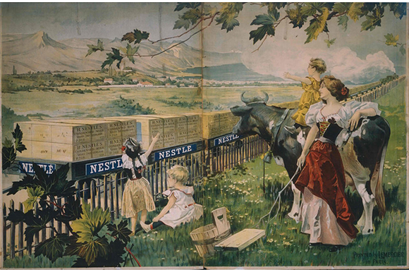 landscape painting with children, woman and cow