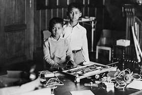 Ten year old King Ananda Mahidol, the boy King of Thailand with his brother Bhumibol.