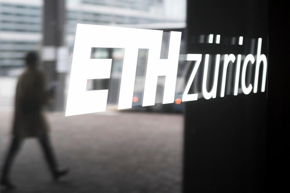 The sign ETH Zurich on a window