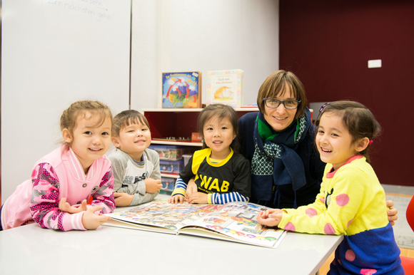 Pupils and teacher in Swiss School Beijing