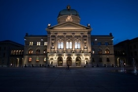 The Swiss parliament building pictured at night