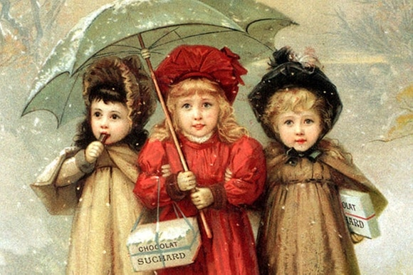 Painted image of three girls linking arms in the snow. One is eating a Suchard chocolate bar. The other two are holding a box.