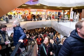 Big crowds of people at a shopping centre