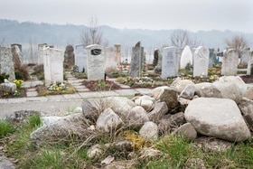 cemetery with rocks