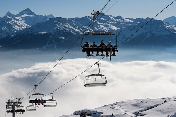 Skiers benefit from the early snow Crans-Montana on December 3