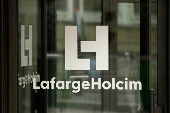 company logo on the French headquarters of LafargeHolcim, in Paris, France.