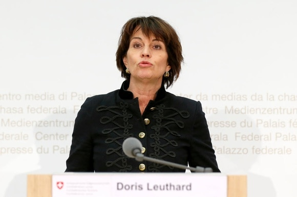 Doris Leuthard, Swiss President during a press briefing on EU policy
